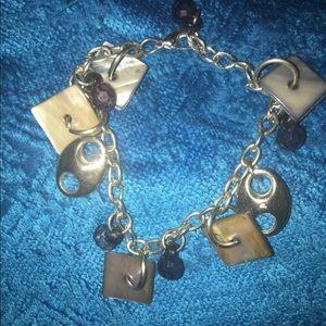 Vintage Silver Abalone Bracelet